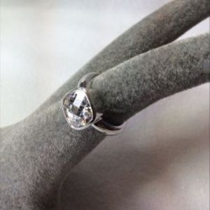 Huge Sparkle Sterling Silver Solitaire Ring